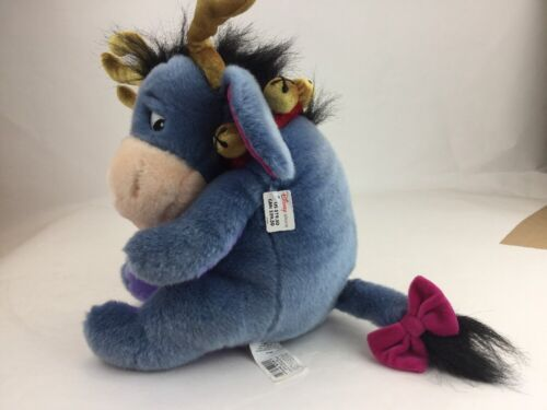 "Disney Store Exclusive Winnie Pooh Eeyore Donkey 13"" Christmas Reindeer Plush"