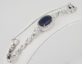 14k White Gold Ladies Art Deco 8.00ct Sapphire  0.75ct Diamond Bracelet,... - $1,995.00