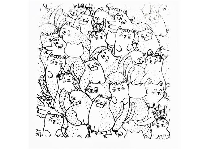 Cat Pile Clear Acrylic Background Stamp