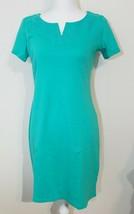 TALBOTS NWT $79 Green Embroidered Neckline Trim Comfort Stretch Dress Sz SP - $23.76
