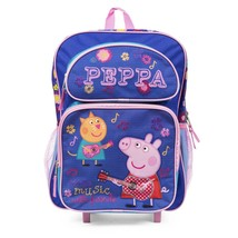 "Peppa Pig 16"" Rolling Backpack Bag Make Music with Friends Blue - $26.99"