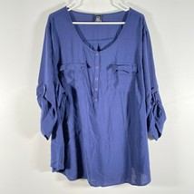 Torrid 4 Roll Tab 1/2 Button Pullover Scoop Neck Blouse Shirt Top Blue  - $21.09