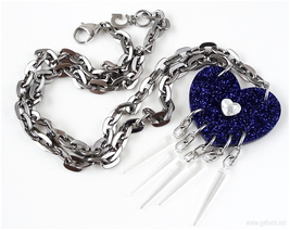 Purple Acrylic Heart Necklace with Spikes, Pastel Goth, Industrial, Visu... - $18.00