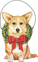 "CORGI dog Holiday Christmas ornament wooden 3.75"" x 5"" wreath - $10.75"