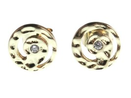 NEW Kevia 18K Gold Plated Cubic Zirconia Crystal Retro Swirl Post Stud Earrings