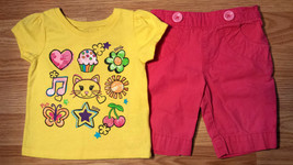 Girl's Size 9-12 M Months 2 Pc Yellow Glitter Kitten Cupcake Top & Circo... - $14.00