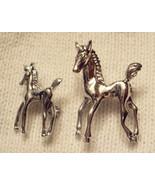 "HORSE PIN LOT Silver Tone Prancing 1"" Colt + 1.5"" Mare VTG Equine Brooch... - $19.76"