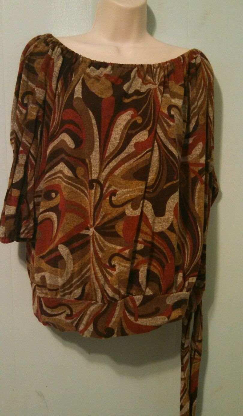Earth tone abstract  3/4 sleeve shirt size 18/20 by Dressbarn  MMAD009