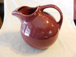Hall Ceramic Ball Pitcher USA Signed #633 Mid Century Maroon ice guard - $74.24