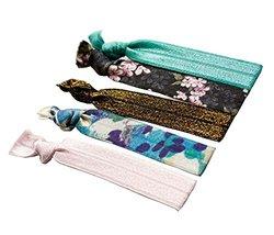 Set of 3 Stylish Elastics Ponytail Holder Knotted Hair Ties Scrunchie Fl... - $9.82
