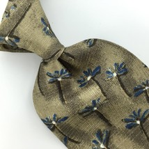 Structure Us Made Floral Khaki Steel Blue Silk Men Necktie H3-400 Excellent Ties - $15.83