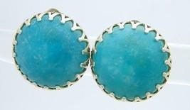 HONG KONG Blue Acrylic Round Button Acrylic Bead Clip Earrings Vintage - $13.86