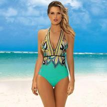 Women's Designer V- Neck Tummy Control Halter One Piece Swimsuit image 1