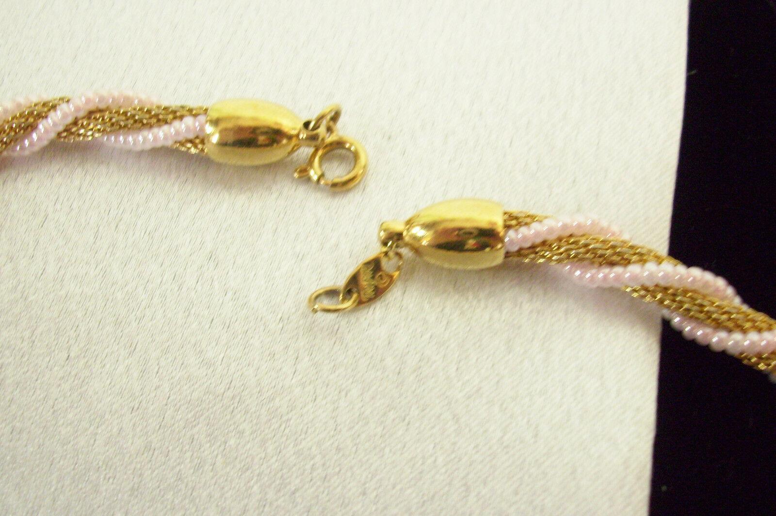 TRIFARI Pale PINK Bead WRAP MESH Gold Plate Choker Necklace Vintge Pearlescent
