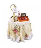 DOLLHOUSE Filled Bedside Night Table 1.703/2 Reutter Country Pink Rose Miniature - $39.01