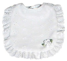 Raindrops Eyelet Girl Bib, White Bud - $16.37