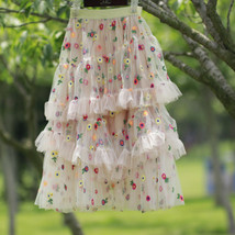 Champagne Tiered Tulle Skirt Outfit Floral Layered Tulle Skirt Princess Skirt image 9