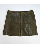 """DKNY JEANS Brown Distressed Pebbled Leather Punk Mini Pencil Skirt 5 29""""... - $18.80"""