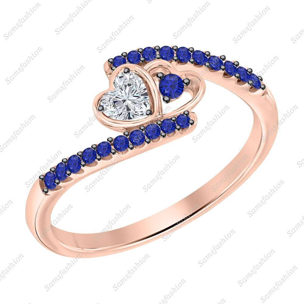 Primary image for Heart Cut Dia & Blue Sapphire 14k Rose Gold 925 Silver Double Heart Wedding Ring
