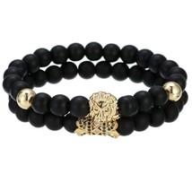 Luxury 2Pcs/Set Natural Lava Stone Beads Male Pave CZ Skull Crown Bracel... - $270,30 MXN