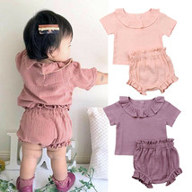 2019 Summer Solid Cotton Clothing Infant Kids Baby Girl Outfits Casual T... - $10.39