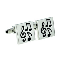 Square Music Notes Chunky cufflinks, silver with music design on cufflinks gift