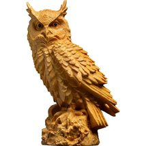 Handcrafted Wooden Owl Home Decor Christmas Gift Owl Sitting on Tree Branch - $44.99+