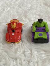 Marvel Super Hero Adventures Pull Back Racers set 2 Hulk Ironman cars - $14.84