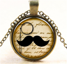 MONOCLE & MUSTACHE CABOCHON NECKLACE   #9964  >> COMBINED SHIPPING - $3.75
