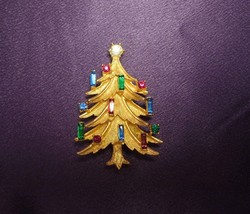 Mamselle Vintage Gold Tone Christmas Tree Multi Color Rhinestone Candle ... - $49.50