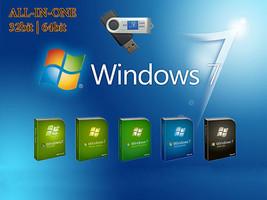 WINDOWS 7 ALL IN 1 USB BOOTABLE DRIVE 32BIT/64B... - $20.00