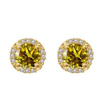 0.84 Cttw Citrine & Diamond 14k Yellow Gold Fn Flower Shape Stud Earrings  - $59.72