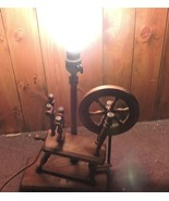 VINTAGE WOOD SPINNING WHEEL LAMP REAL WORKING ACTION - $29.65