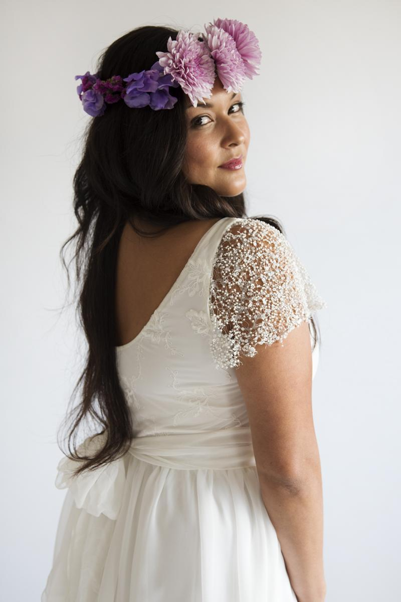 Plus Size Wedding Dress Chiffon Lace Boho Bohemian Wedding Gown Beach 2017