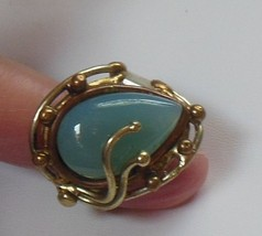 Custom Made Large Blue Aqua Stone Copper & Silver Ring Size 9-Adjust Est... - $54.45