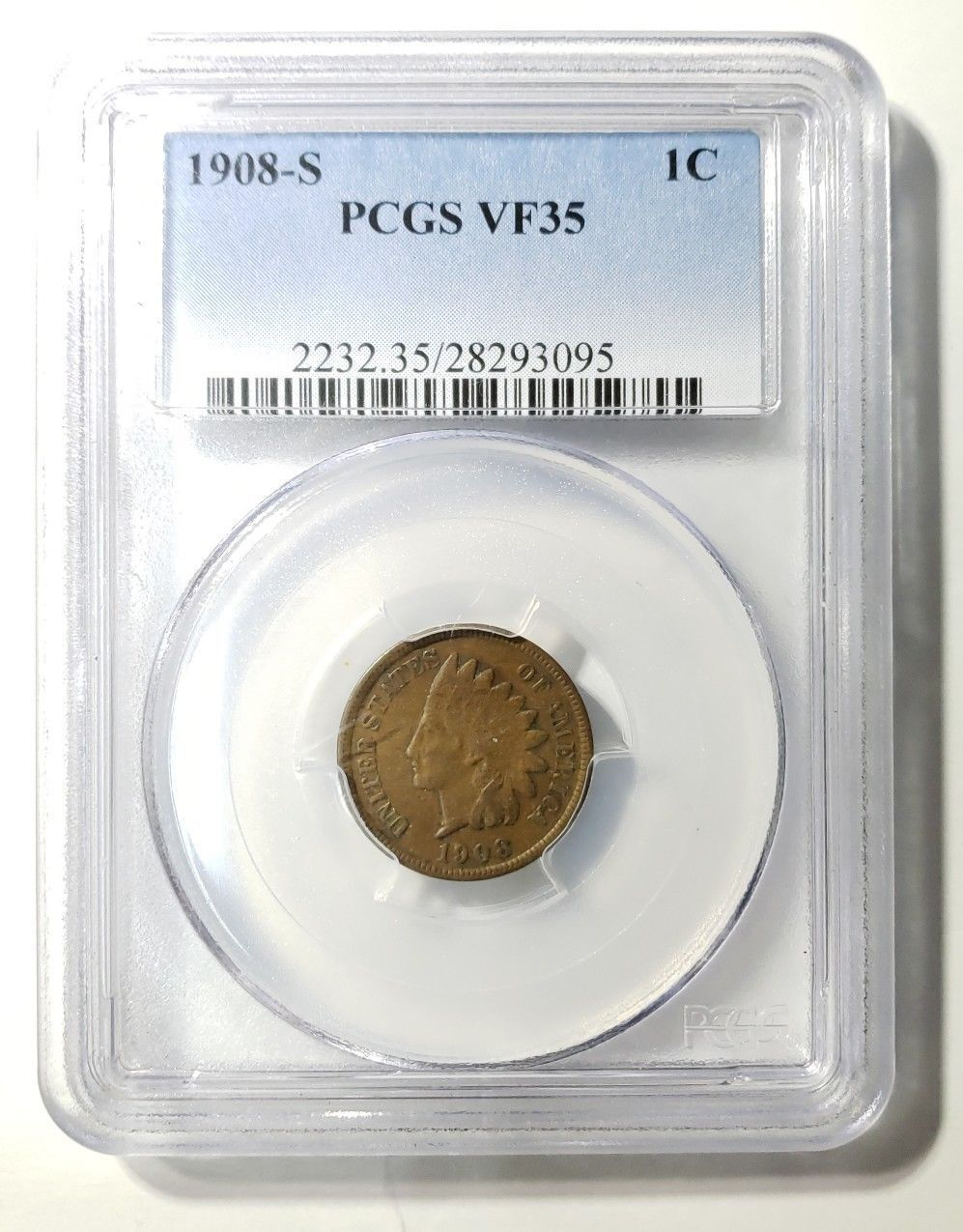 1908S Indian Head PENNY CENT COIN PCGS VF35  LOT# E 257