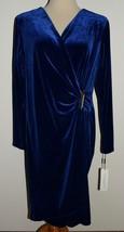 New Calvin Klein Dress Blue Velvet Faux Wrap V-Neck Sheath Sz 16 - $45.80
