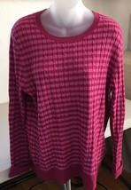 Talbots 100% Cotton Women's SZ XL Sweater Bright Pink Purple Stripe E14 - $39.59