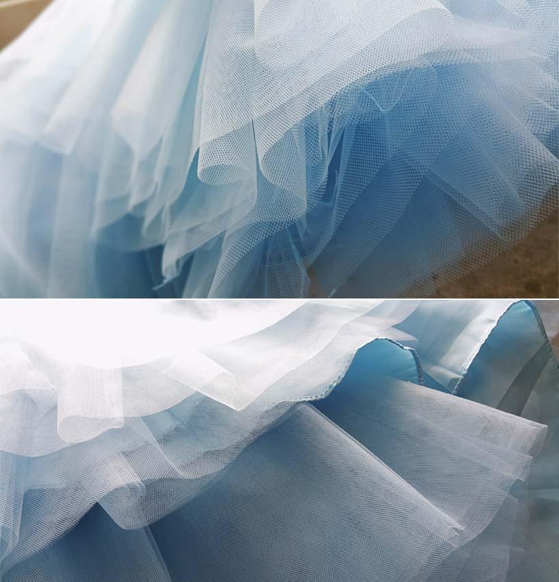 Women Light Blue Tulle Skirt Plus Size Tutu Skirt Wedding Bridesmaid Skirt Sash