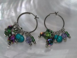 Estate Silvertone Wire Hoops with Shades of Blue Green Iridescent Bead D... - $10.39