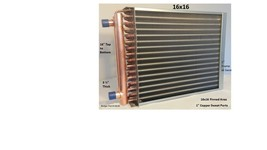 """16x16 Water to Air Heat Exchanger~~1"""" Copper Ports w/ EZ Install Front F... - $105.66"""