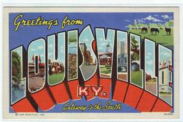Louisville Kentucky Large Letter Linen postcard - $6.44