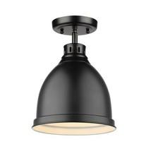 Golden Lighting-3602-FM BLK-BK-Duncan - 1 Light Flush Mount Black Shade ... - $49.49