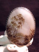 VINTAGE RUSSIAN FEDOSKINO LANDSCAPE ON MOTHER OF PEARL PIN - $39.60