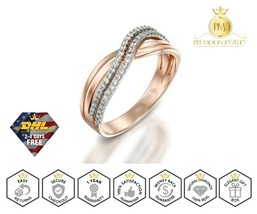14k Rose Gold Ring with Cubic Zirconia Solid Gold Wedding Ring Crossover... - $297.00