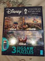 Disney Thomas Kinkade 3 Pack Puzzle Tangled, Aladdin, Mickey Minnie - NEW SEALED - $19.99