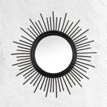 "Black Rattan Wall Mirror 25"" Round Geometric Design - $38.89"