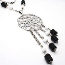 Silver necklace 925, Onyx Black Tube, Locket Stars and Circles Pendant image 3