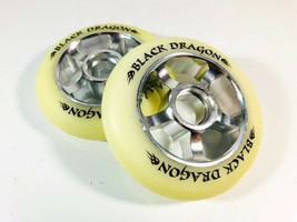 Black Dragon 100mm 10 Spokes Aluminum Core Scooter Wheels White//Green Set of 2