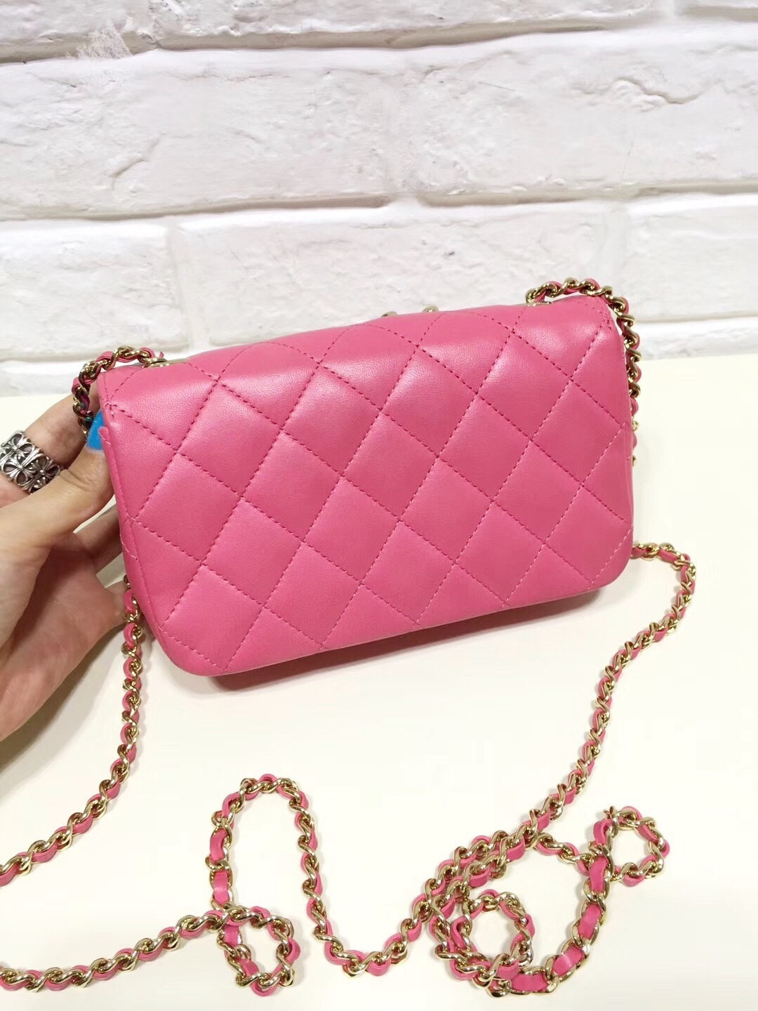 a1cef4c0df09a3 AUTH CHANEL PINK LAMBSKIN EMOJI CRYSTAL PEACE SIGN MINI RECTANGULAR FLAP BAG